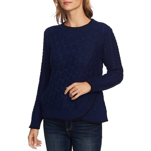 CeCe Blue Womens Size Medium M Jewel Neck Cable Knit Overlay Sweater