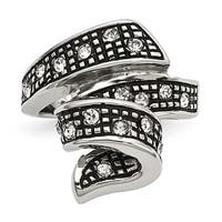 Chisel Stainless Steel Crystal Antiqued Swirl Ring (22 mm)