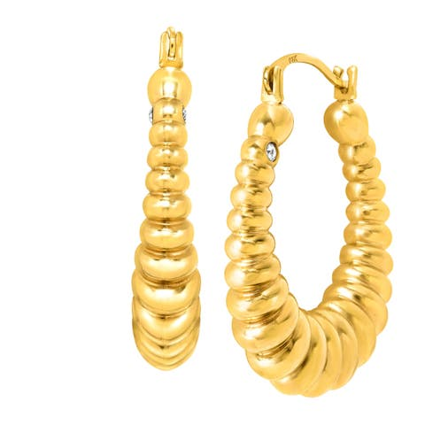 Ribbed Hoop Earrings with Swarovski Crystals in 14K Gold