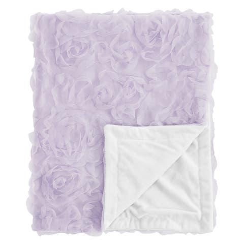 Purple Floral Rose Girl Baby Receiving Security Swaddle Blanket - Lavender Flower Luxurious Elegant Princess Boho Shabby Chic