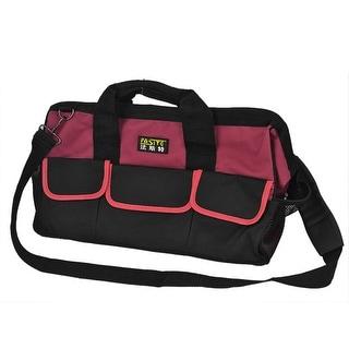 Unique Bargains Wearproof Plastic Pad Bottom Design Electrician Tool Hand Bag Black Red