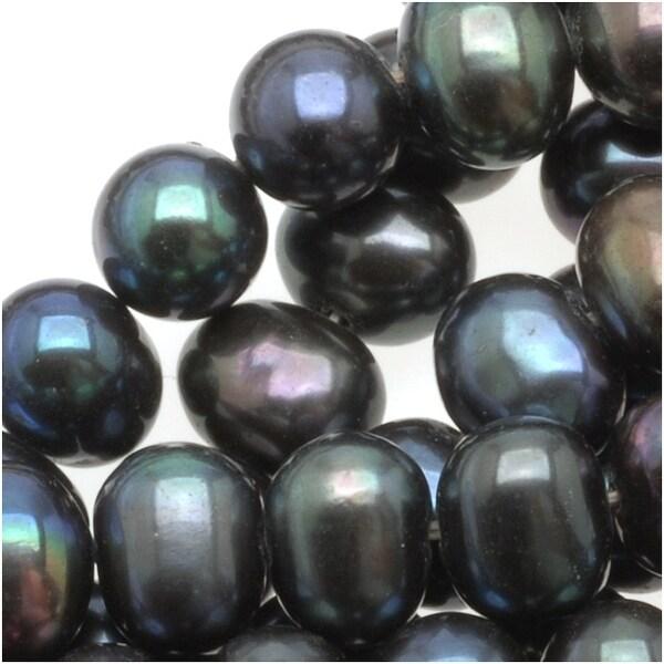 Dark Peacock Round Potato Pearls 5-7mm (16 Inch Strand)