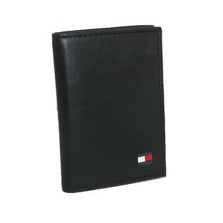 Tommy Hilfiger Men's Leather Dore Trifold Wallet - Black - One Size