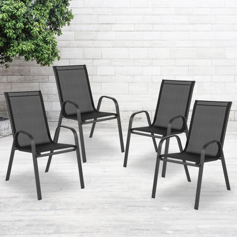 4 Pack Outdoor Stack Chair with Flex Comfort Material - Patio Stack Chair