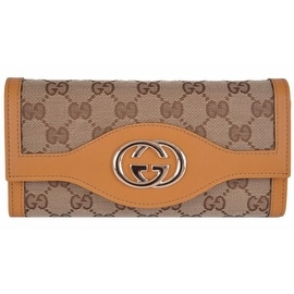 New Gucci 282431 GG Guccissima Ochre Canvas Leather Sukey Continental Wallet