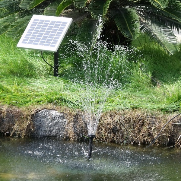 Sunnydaze Solar Pump & Solar Panel Kit with Battery Pack & LED Light 132 GP