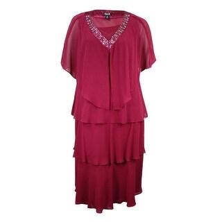 SLNY Women's Plus Size Tiered Chiffon Jacket & Dress