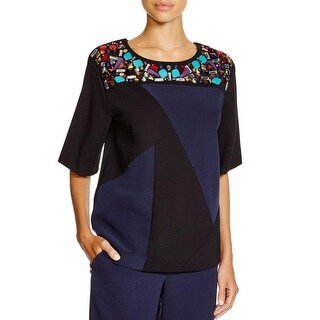 DKNY Womens Petites Pullover Top Colorblock Embellished