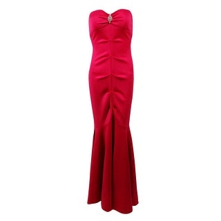 Xscape Women's Ruched Strapless Scuba Knit Mermaid Gown - Fuschia - 6