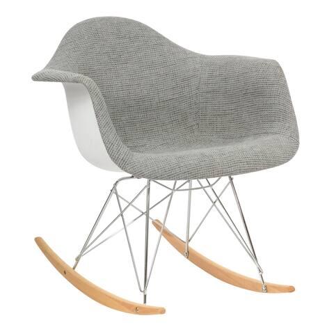 LeisureMod Wilson Twill Fabric Grey Rocking Chair w/ Eiffel Legs