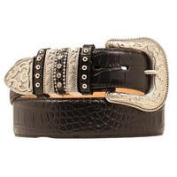 Nocona Western Belt Womens Leather Croco Gator Black