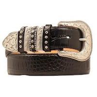 Nocona Western Belt Womens Leather Croco Gator Black