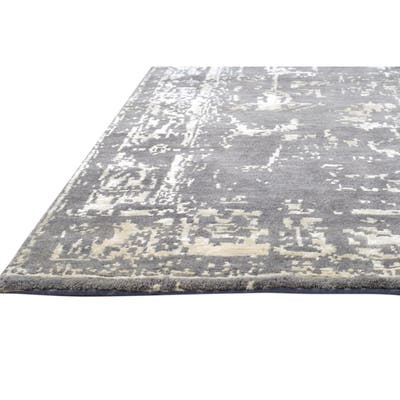 """One of a Kind Hand-Knotted Modern & Contemporary 4' x 6' Abstract Wool Grey Rug - 3'10""""x5'11"""""""