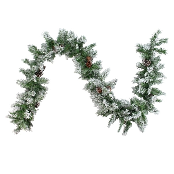 """9' x 10"""" Flocked Angel Pine with Pine Cones Artificial Christmas Garland - Unlit - green"""