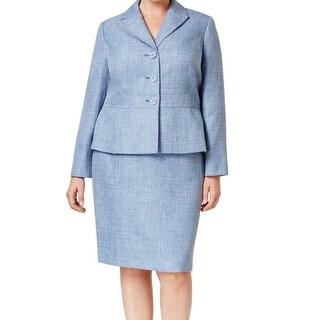 Le Suit NEW Blue Denim Women Size 20W Plus Three-Button Skirt Suit Set