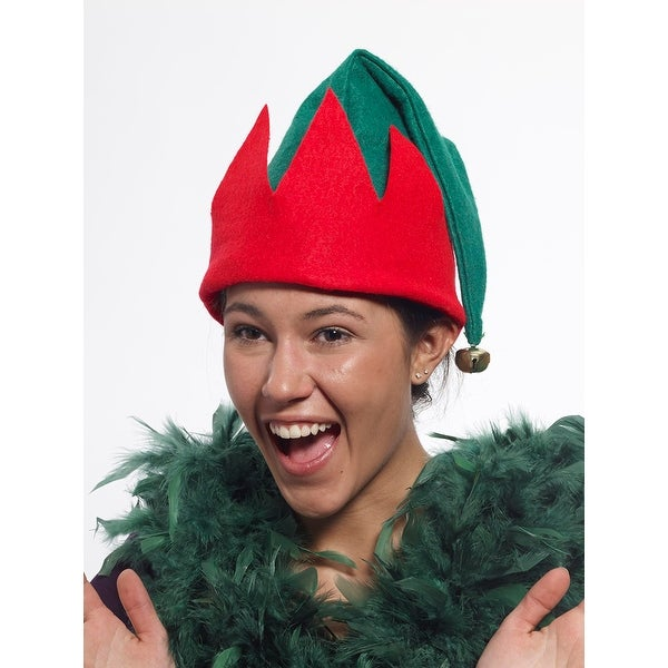 Felt Elf Costume Hat With Jingle Bell Adult - Green