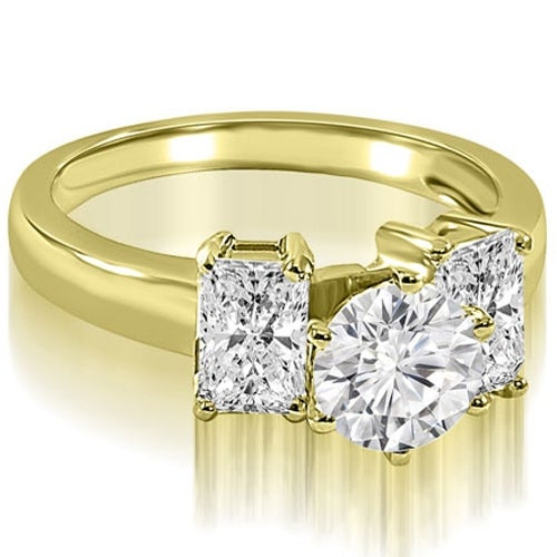 1.50 cttw. 14K Yellow Gold Round and Emerald Cut 3-Stone Diamond Engagement Ring
