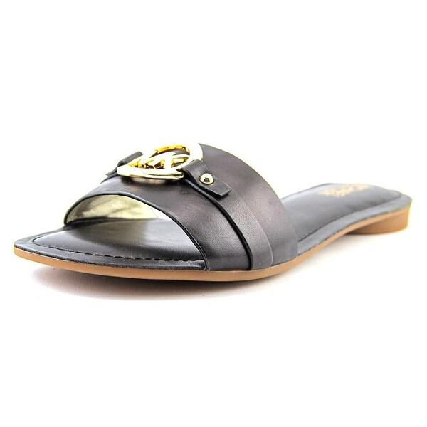 Michael Michael Kors Molly Slide Women Open Toe Leather Black Slides Sandal