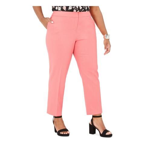 BAR III Womens Pink Zippered Straight leg Pants Size 22W