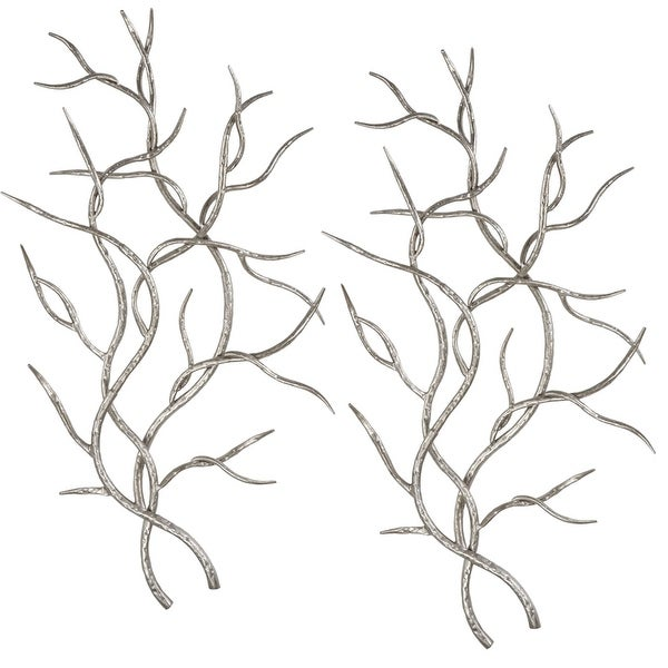 "Set of 2 Silver Branches Metal Wall Decor 36.5"" - N/A"