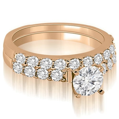 1.45 cttw. 14K Rose Gold Round Cut Diamond Bridal Set
