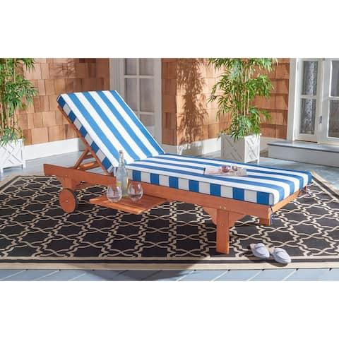 Safavieh Outdoor Living Newport Ash Natural/ Blue/ White Stripe Cart-Wheel Adjustable Chaise Lounge Chair