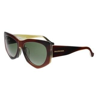 Balenciaga BA0018-F 47N Dark Havana Rectangular Sunglasses - dark havana