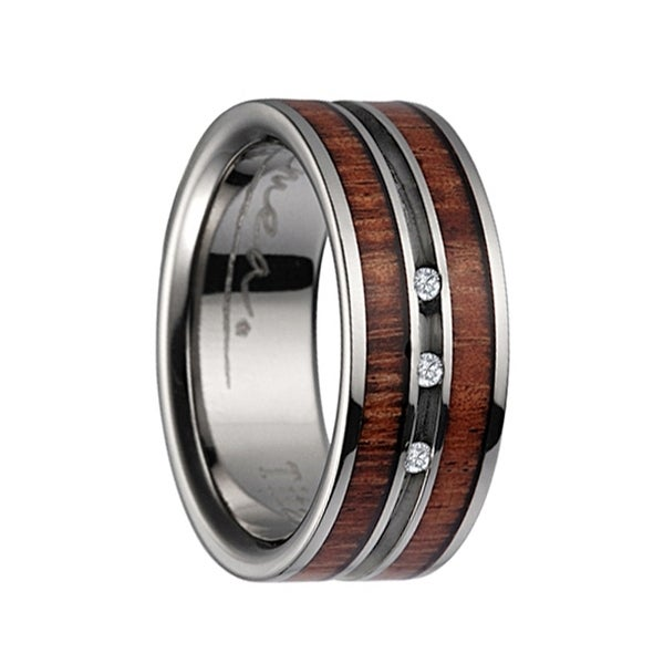 Anium Wedding Ring With Koa Wood Inlay Polished Edges 3 Diamond Center