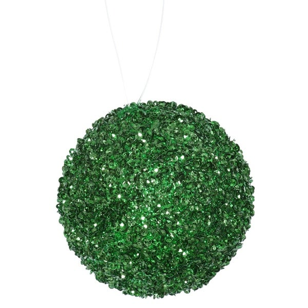 """6ct Emerald Green Sequin and Glitter Drenched Christmas Ball Ornaments 3"""" (80mm)"""