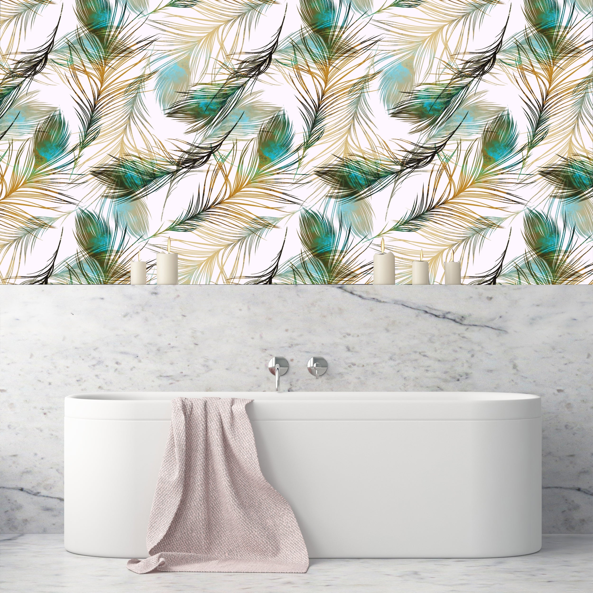 Shop Harius Peacock Feathers Removable Wallpaper 24 Inch X 10 Ft Overstock 31809408