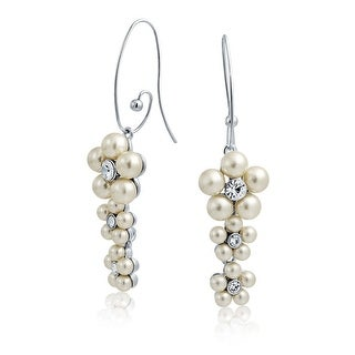 Bling Jewelry Imitation Pearl Rhinestone Flower Earrings Rhodium Plated Alloy