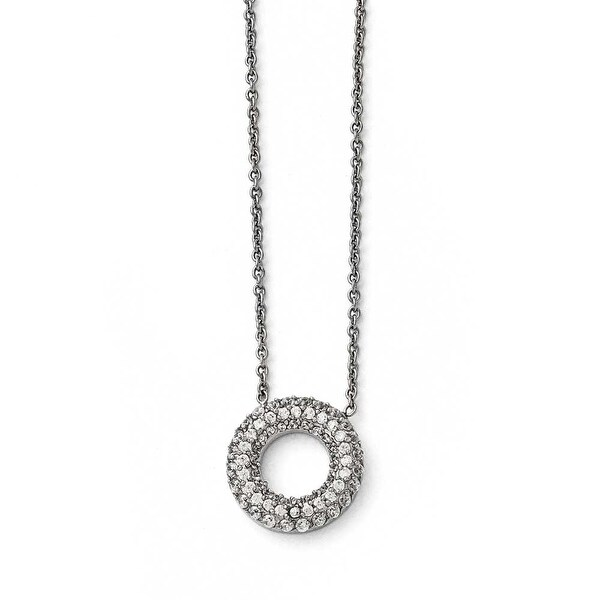 Chisel Stainless Steel Polished Circle with CZs Necklace - 18.25 in