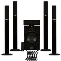 Acoustic Audio AAT2003 Tower 5.1 Bluetooth Speaker System and 5 Ext. Cables