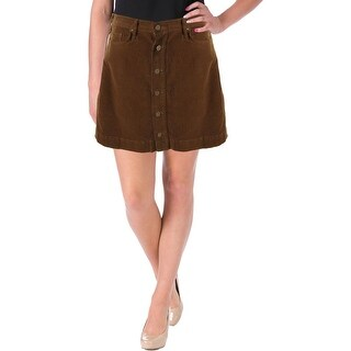 McGuire Womens Button Placket Corduroy A-Line Skirt