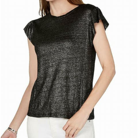 Michael Kors Women's Top Gun Metal Gray Size Large L Knit Shimmer Linen