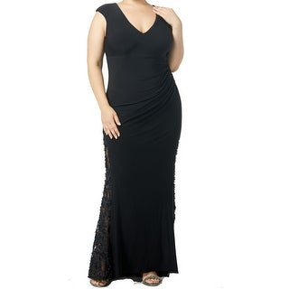 Link to Betsy & Adam Women's Dress Black Size 14W Plus Sheath V-Neck Ruched Similar Items in Dresses
