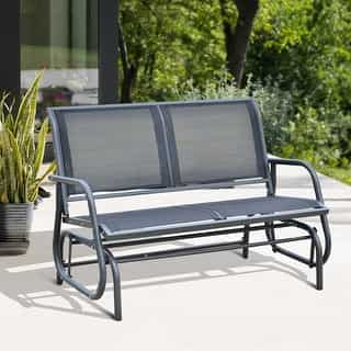 Outsunny Outdoor Black Steel Sling Fabric Rocking Bench Deals