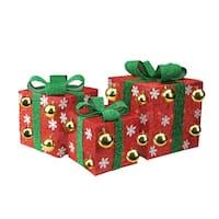 Set of 3 Lighted Red Tinsel Gift Boxes with Green Bows Christmas Outdoor Decorations