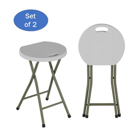 """Hastings Home 18-Inch Round Portable Stool- Set of 2- Foldable, Carry Handle & 300lb Weight Capacity - 12"""" x 12"""" x 18"""""""