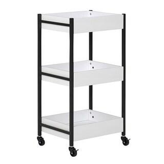 Offex Sew Ready 3 Bin Storage Cart in Charcoal/White - N/A