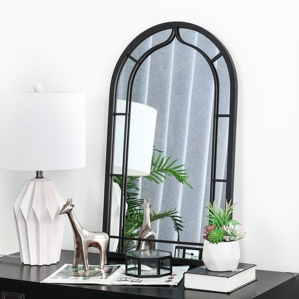 """Glitzhome 33""""H Oversized Arched Black Metal Glass Wall Mirror - 33"""". Opens flyout."""