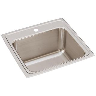 "Elkay DLR191910  Lustertone 19-1/2"" Single Basin 18-Gauge Stainless Steel Kitchen Sink for Drop In Installations"