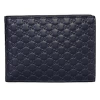 Gucci Men's 278596 Dark Blue Micro GG Guccissima Large Bifold Wallet - 5 x 3.75 inches