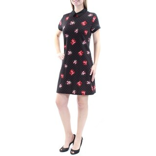 MAISON JULES $80 Womens New 1296 Black Floral Short Sleeve A-Line Dress M B+B