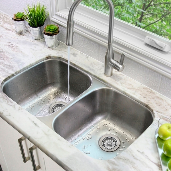 "32""L x 19""W Double Basin Undermount Kitchen Sink with Strainers. Opens flyout."
