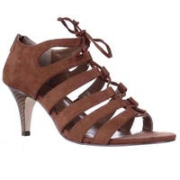 SC35 Hannde Lace Up Strappy Sandals, Chestnut