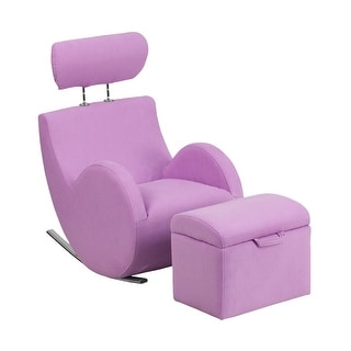 Offex Hercules Series Lavender Fabric Rocking Chair with Storage Ottoman