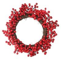 Crimson and Merlot Red Berries Artificial Winter Christmas Wreath - 16-Inch, Unlit