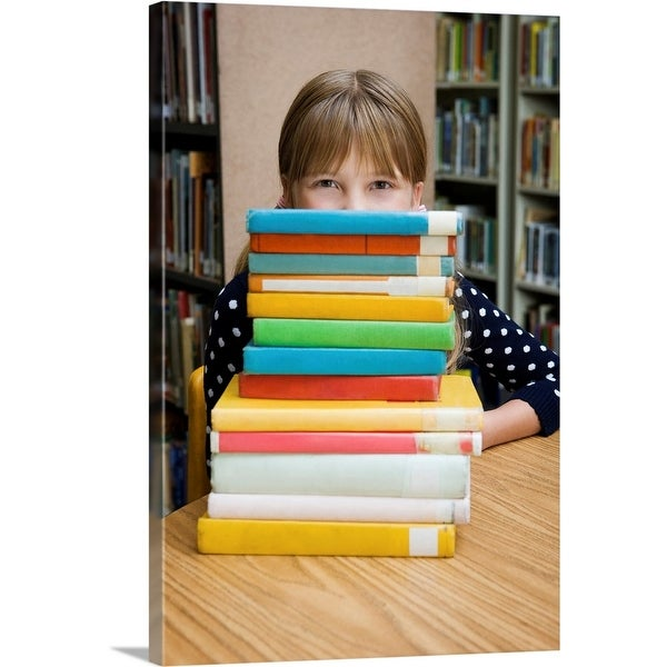 """""""Girl looking over stack of books"""" Canvas Wall Art"""