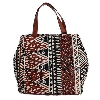 Cavalli Brown Black Strass Hand Shopping Tote Bag - One size